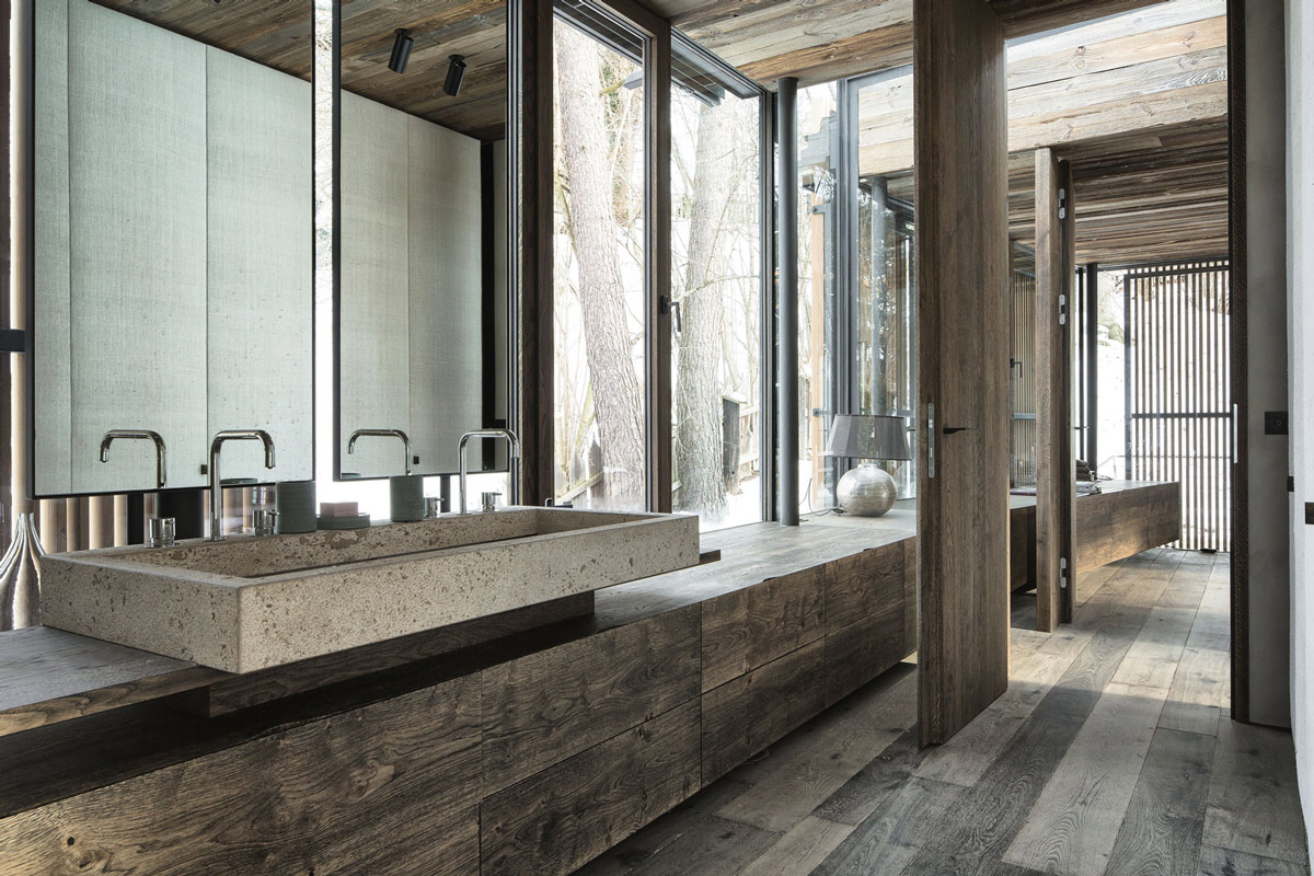 Wood bathroom concrete sink modern home in the mountains for Bathroom designs natural