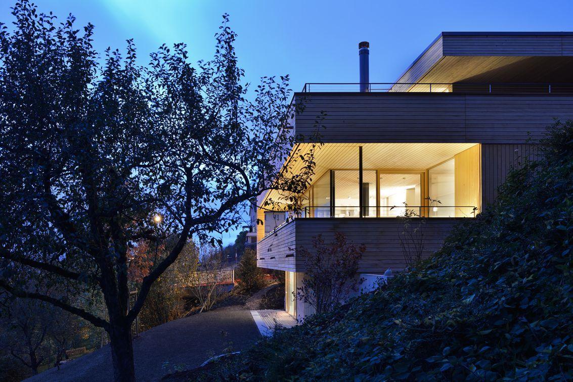 Balcony, Evening, Hillside Home in Weinfelden, Switzerland