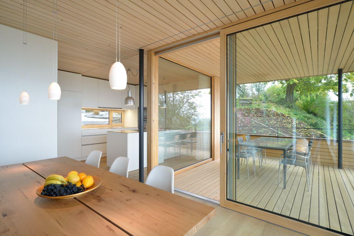 Dining Table, Lighting, Patio Doors, Hillside Home in Weinfelden, Switzerland