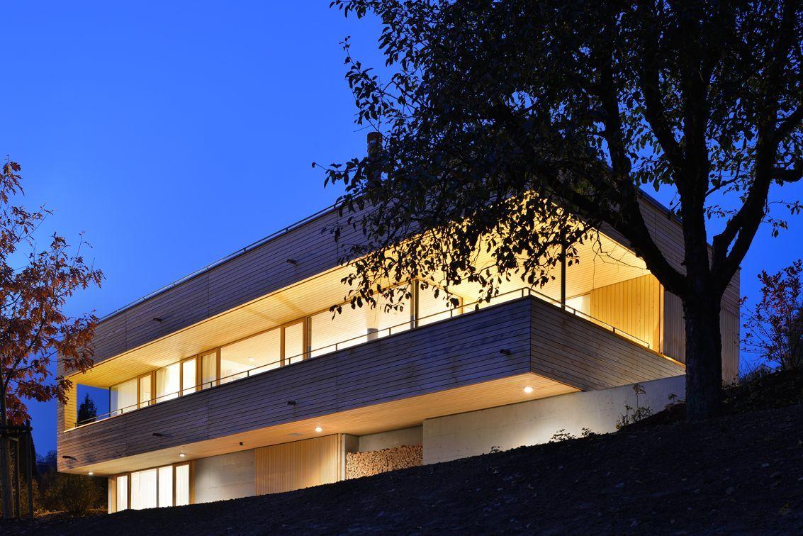 Evening, Lighting, Hillside Home in Weinfelden, Switzerland