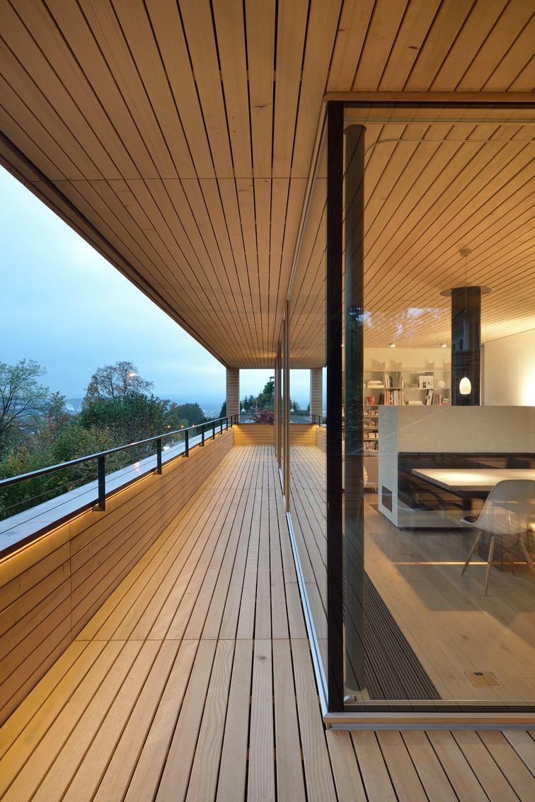Glass Walls, Balcony, Hillside Home in Weinfelden, Switzerland