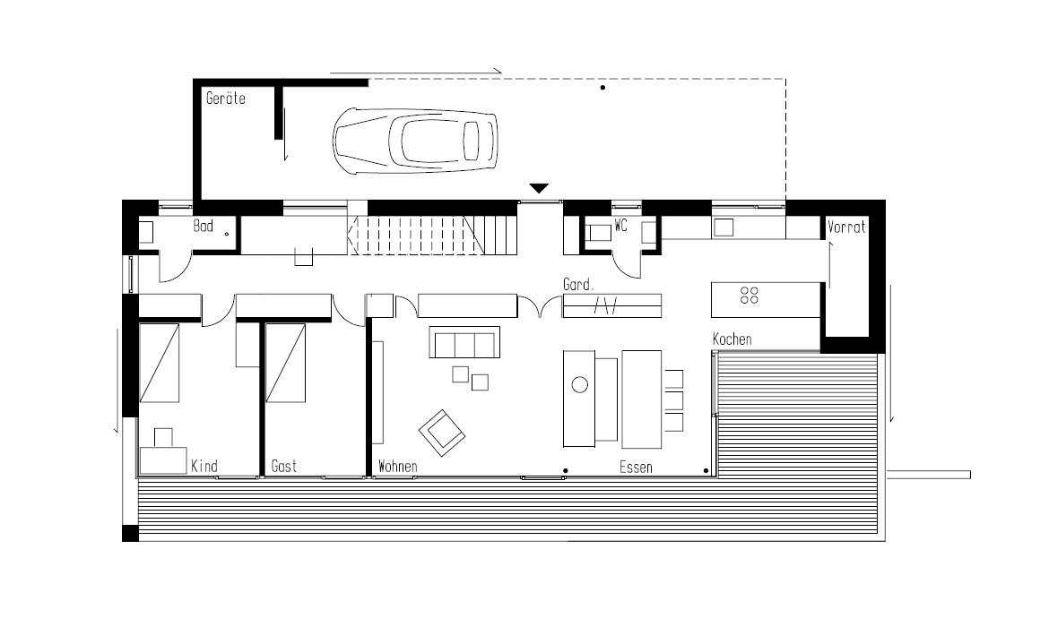 Ground Floor Plan, Hillside Home in Weinfelden, Switzerland