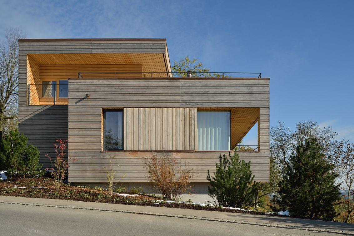 Wood Cladding, Hillside Home in Weinfelden, Switzerland