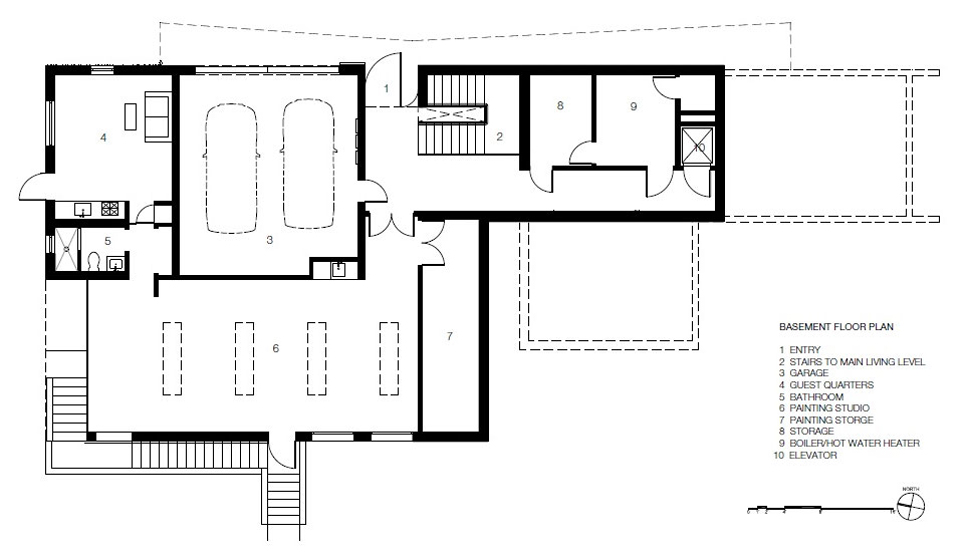 Basement Floor Plan, Impressive House in Marin, California