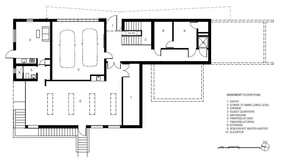 Basement Floor Plan, Impressive House in Marin, California