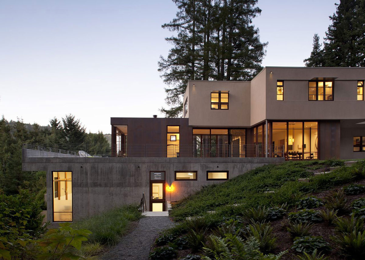 Evening, Lighting, Impressive House in Marin, California