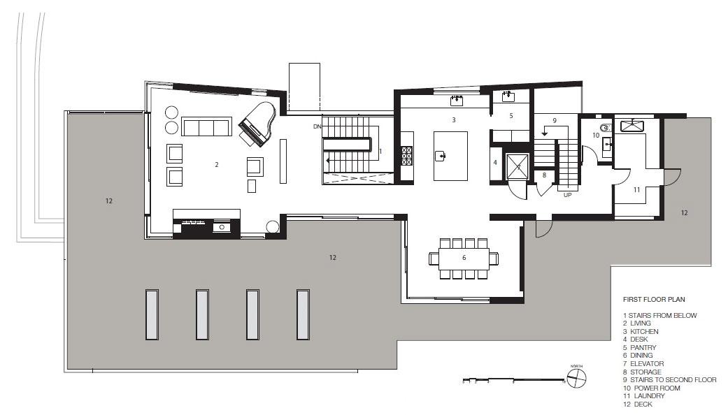 First Floor Plan, Impressive House in Marin, California