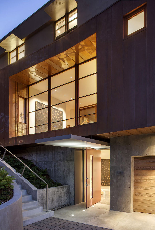 Front Door, Lighting, Impressive House in Marin, California