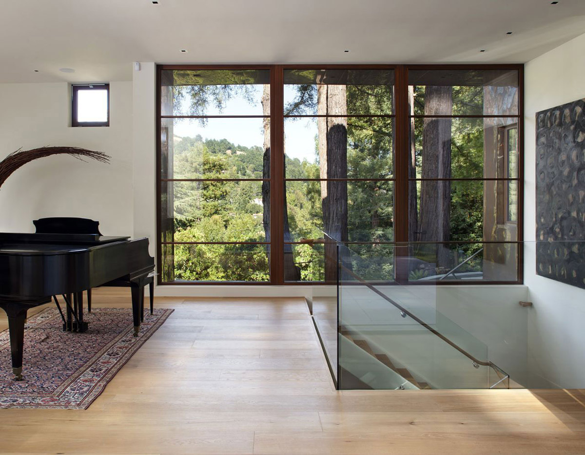 Glass Balustrading, Stairs, Large Window, Impressive House in Marin, California