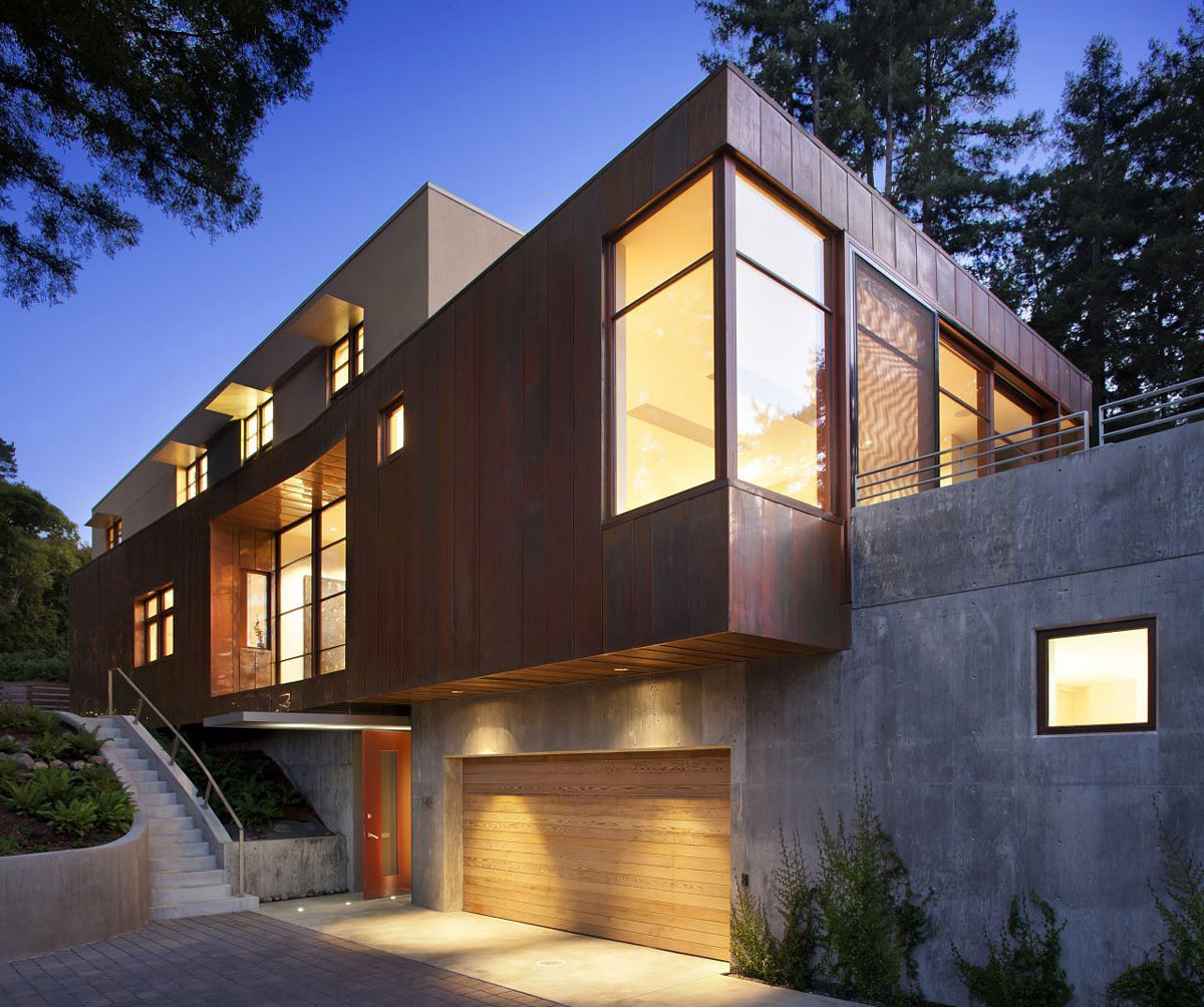 Lighting, Wooden Garage Door, Impressive House in Marin, California