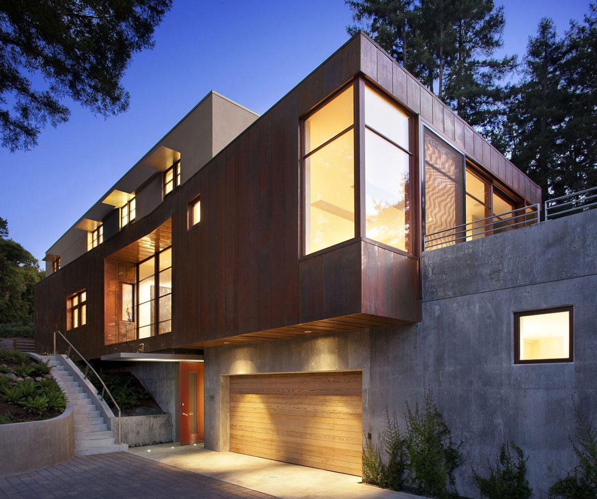 Lighting, Wooden Garage Door, Impressive House in Marin, California