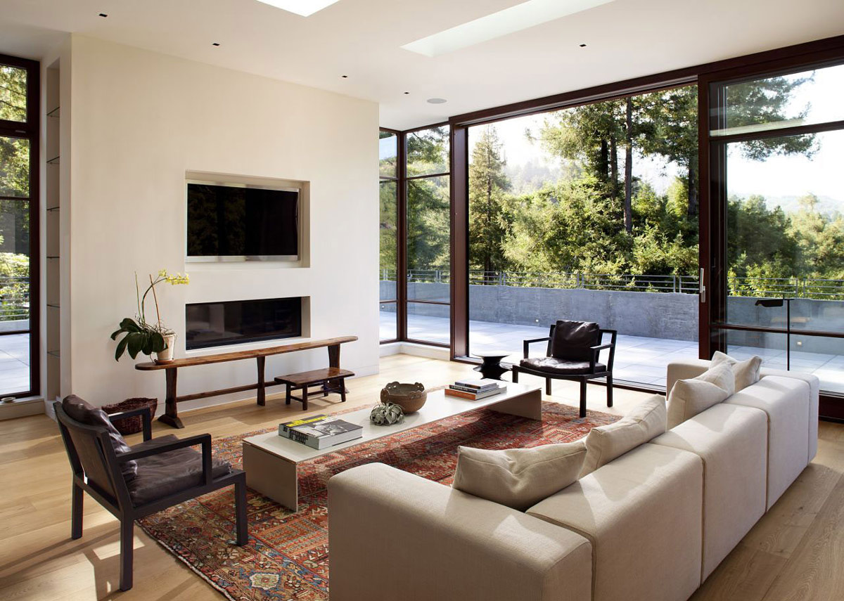 Living Space, Glass Walls, Impressive House in Marin, California