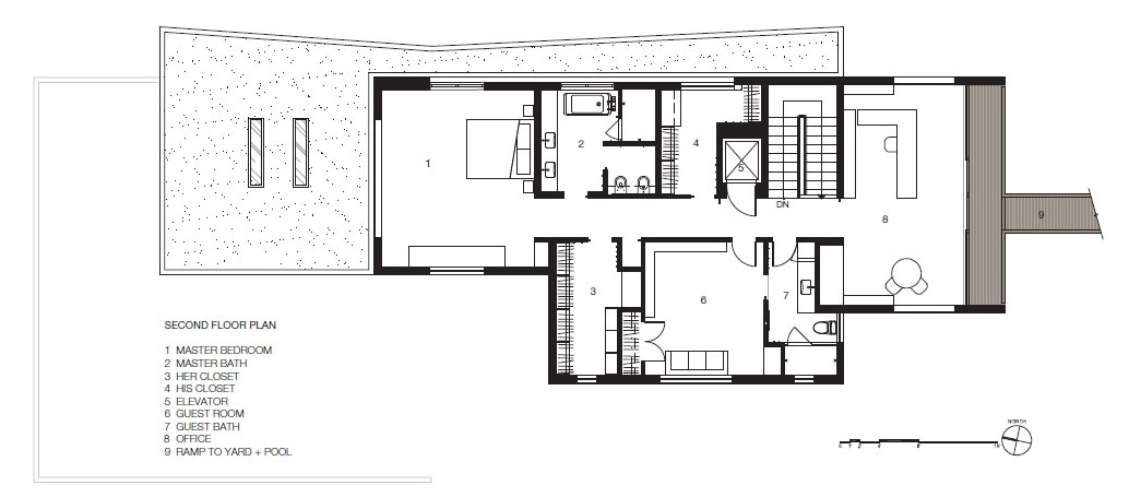 Second Floor Plan, Impressive House in Marin, California