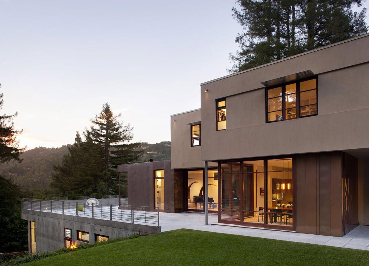 Terrace, Glass Walls, Impressive House in Marin, California