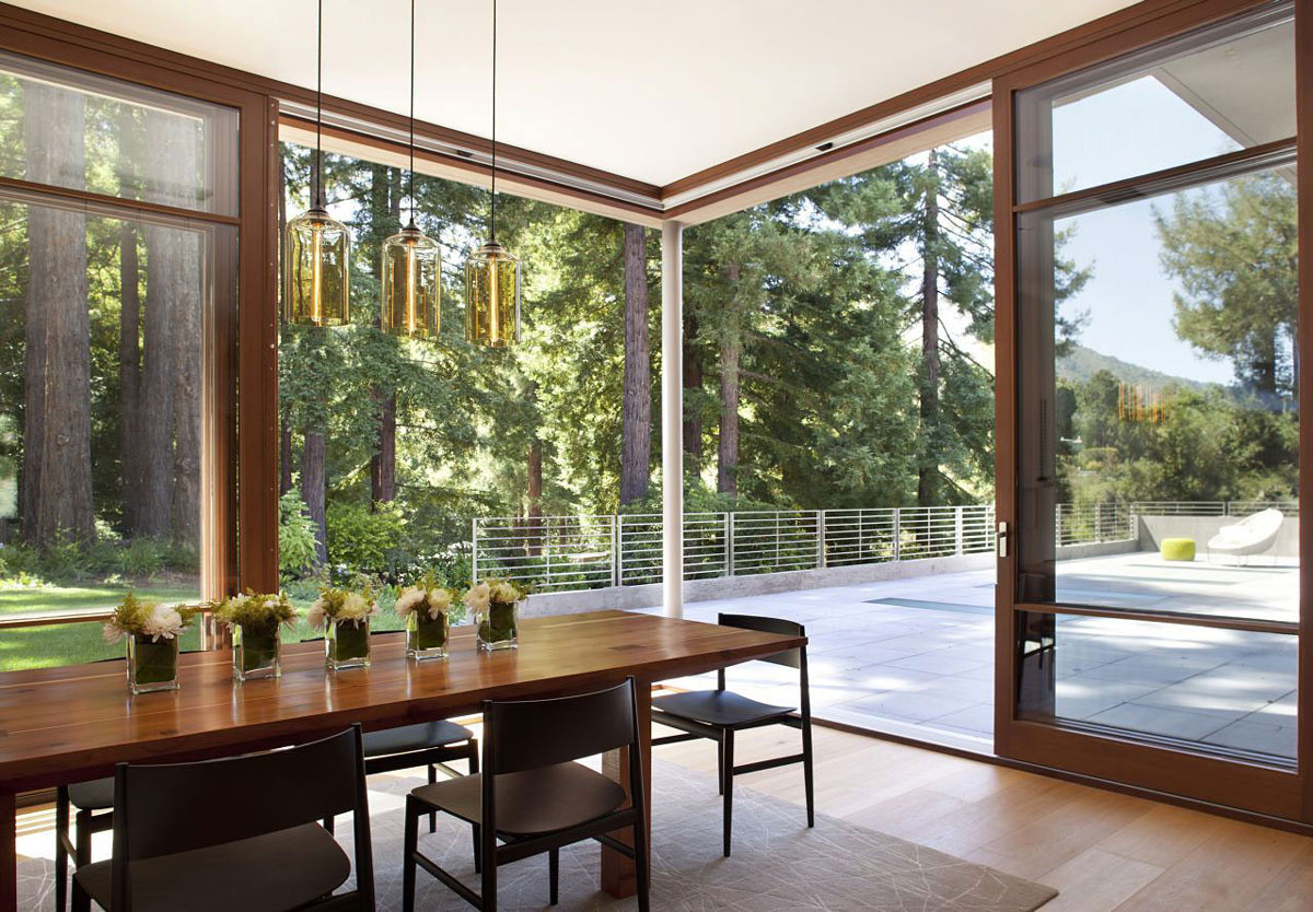 Wooden Dining Table, Lighting, Impressive House in Marin, California
