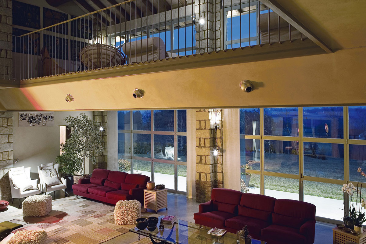 Mezzanine, Glass Walls, Living Area, Rustic Farmhouse in Rosignano Monferrato, Italy
