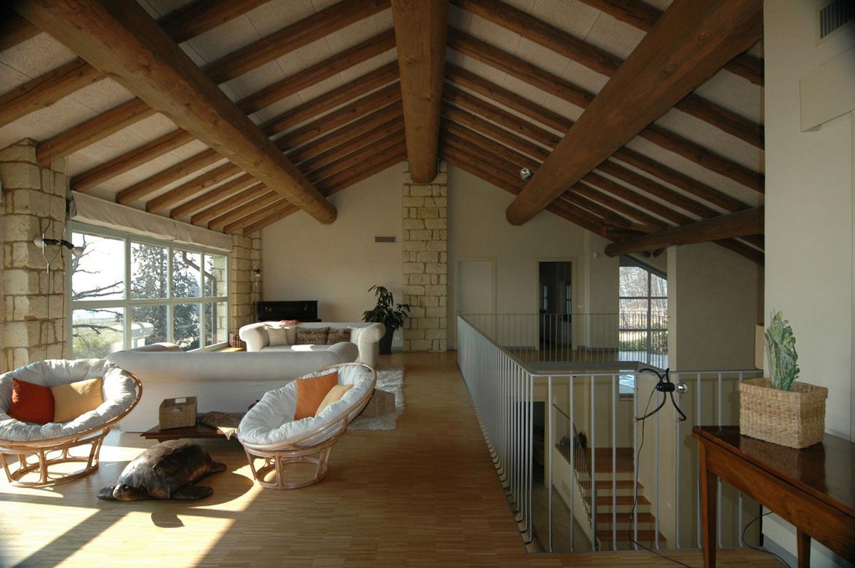 Large Beams, Living Space, Rustic Farmhouse in Rosignano Monferrato, Italy
