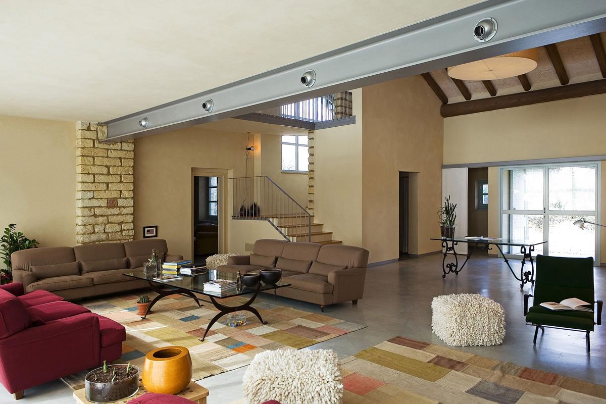 Rug, Sofas, Stairs, Rustic Farmhouse in Rosignano Monferrato, Italy