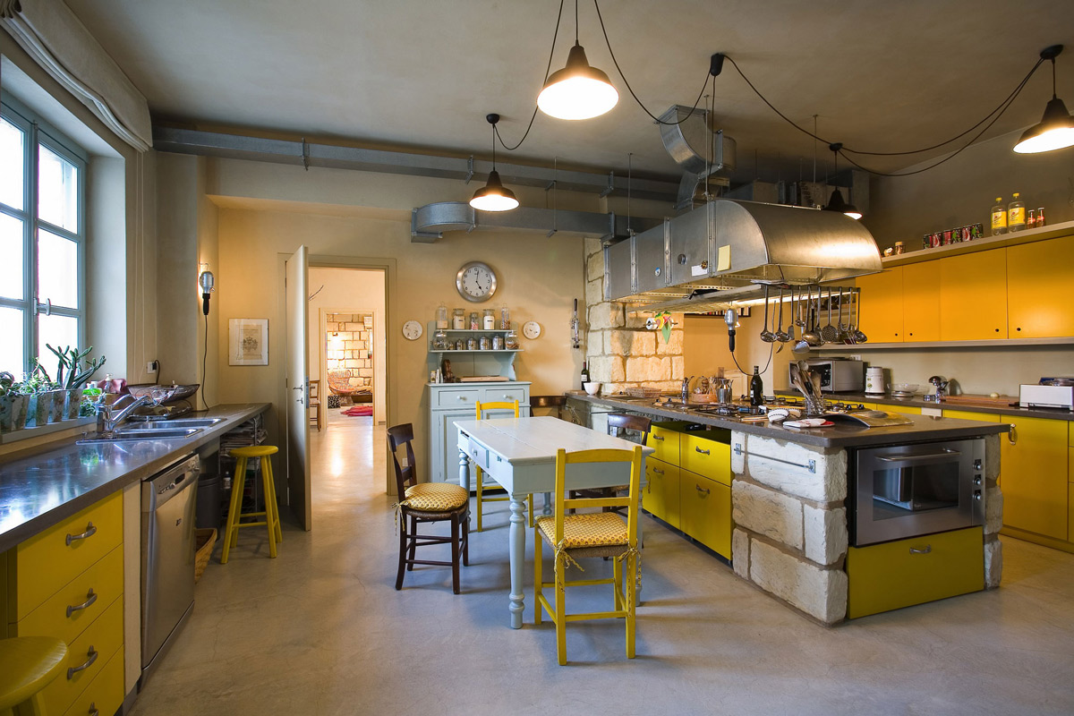Yellow Kitchen, Island, Lighting, Rustic Farmhouse in Rosignano Monferrato, Italy