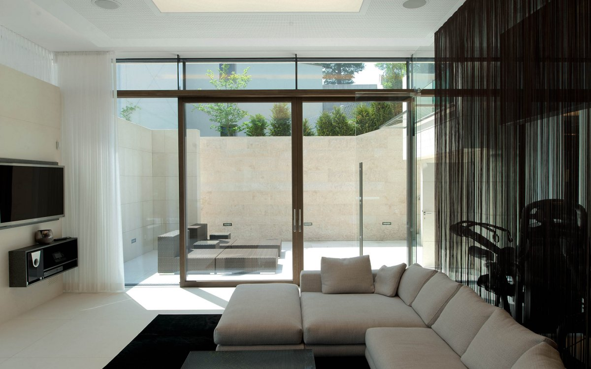 Sofa, Living Space, Glass Walls, KS House in Stein, Austria