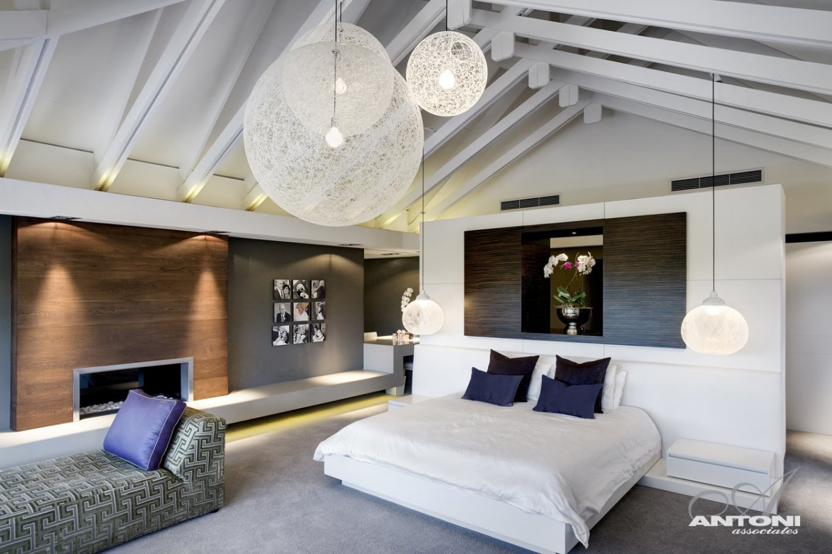 Bedroom Lighting, Fireplace, Luxurious Interior, Pearl Valley Golf Estate, South Africa