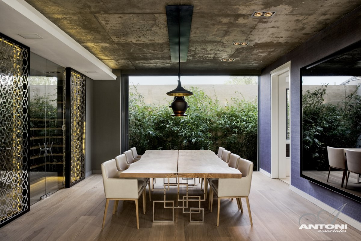 Wood Dining Table, Wine Room, Luxurious Interior, Pearl Valley Golf Estate, South Africa