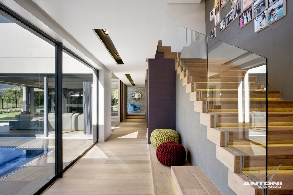 Wood & Glass Staircase, Luxurious Interior, Pearl Valley Golf Estate, South Africa