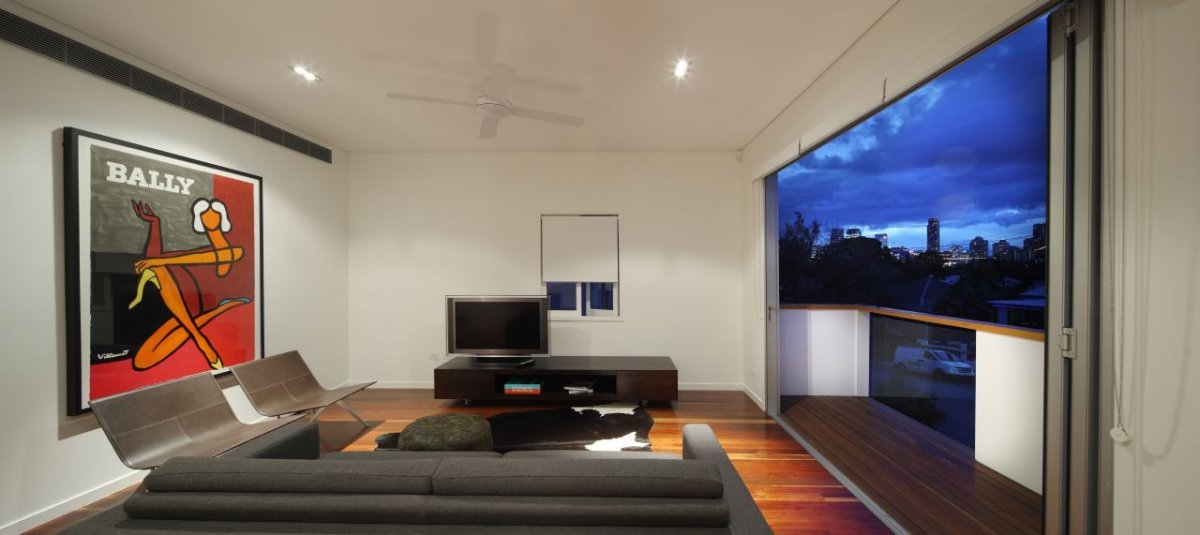 Balcony, Living Room, Contemporary Family Home in Queensland, Australia