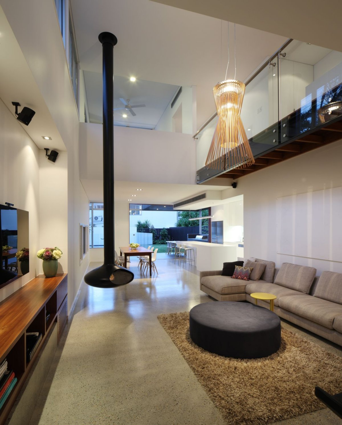 Fireplace, Sofa, Rug, Lighting, Contemporary Family Home in Queensland, Australia