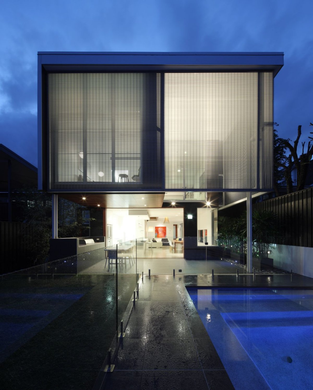 Evening, Lighting, Contemporary Family Home in Queensland, Australia