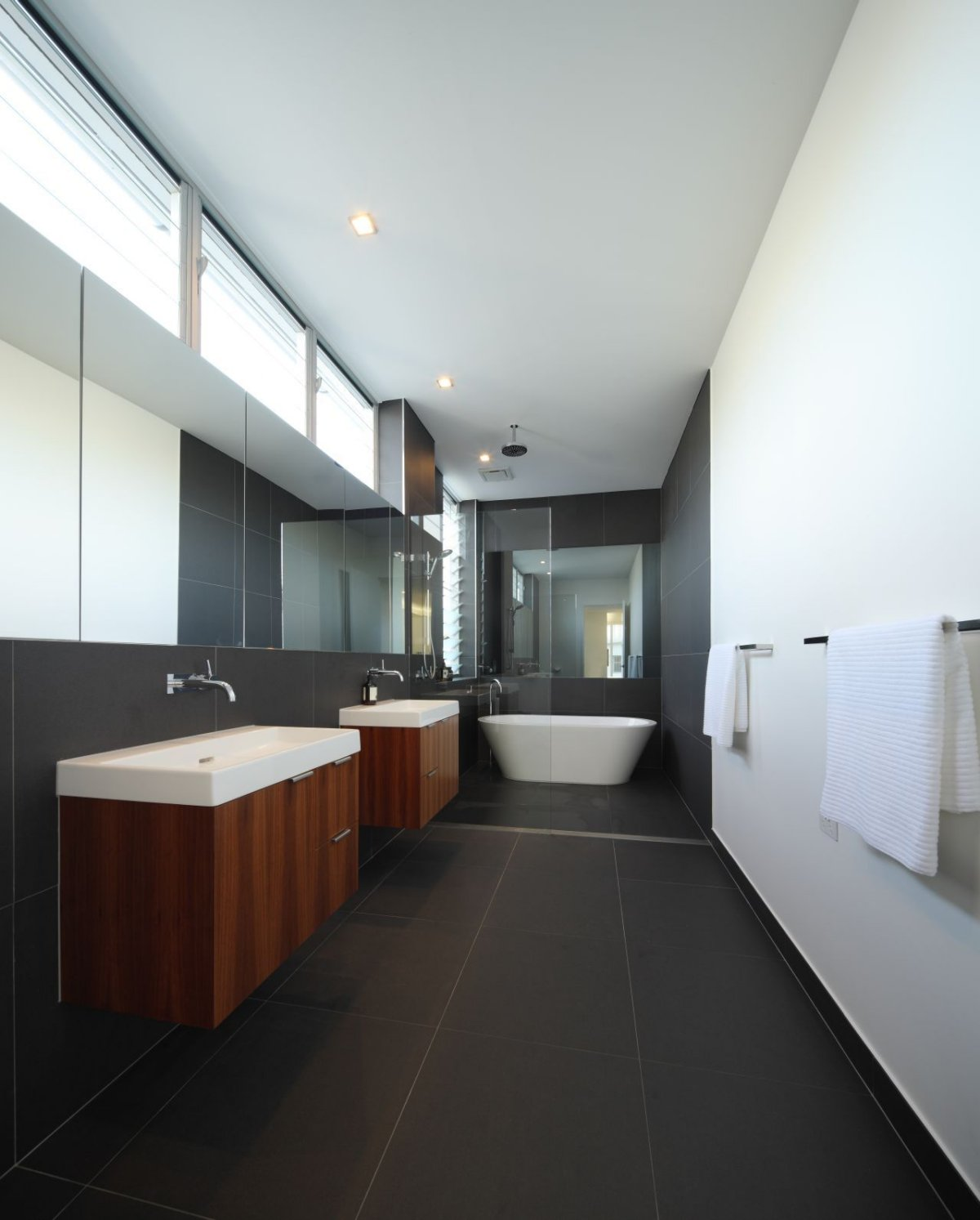 Grey Tiled Bathroom, Contemporary Family Home in Queensland, Australia
