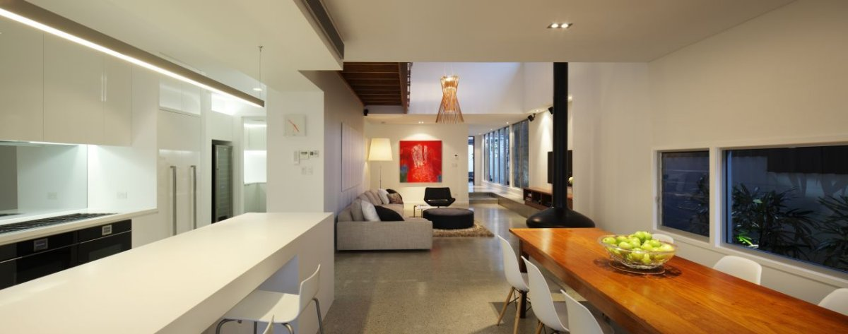 Wooden Dining Table, Contemporary Family Home in Queensland, Australia