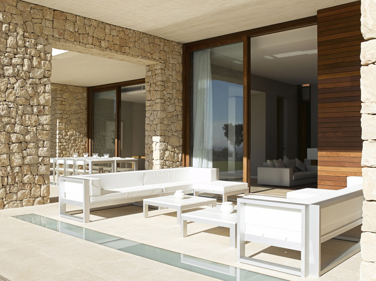 Balcony, White Furniture, Contemporary Home in Monasterios, Spain