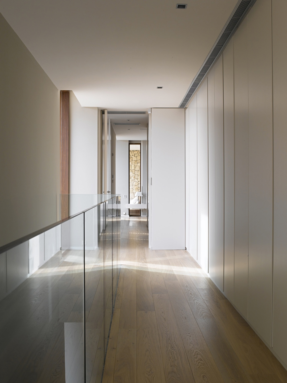 Glass Balustrading, Hallway, Contemporary Home in Monasterios, Spain
