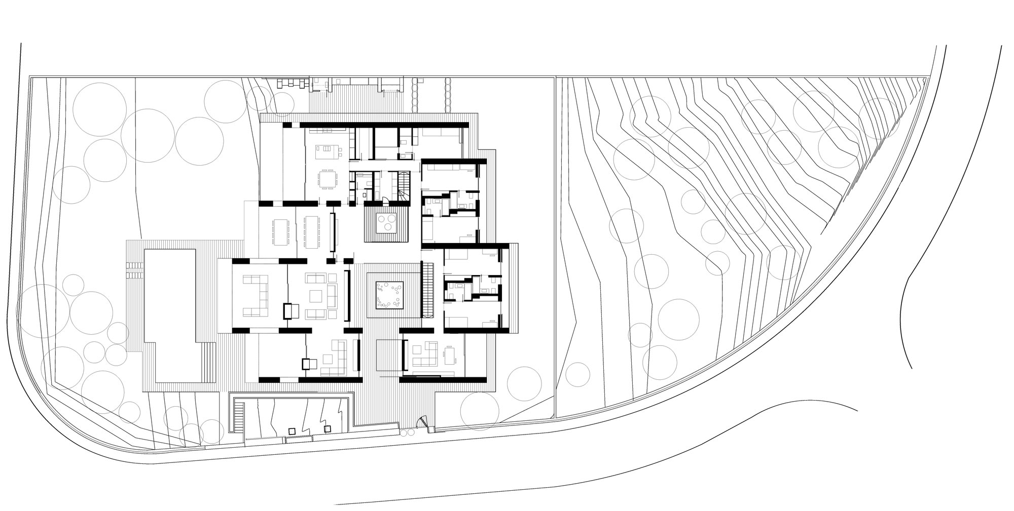 Ground Floor Plan, Contemporary Home in Monasterios, Spain
