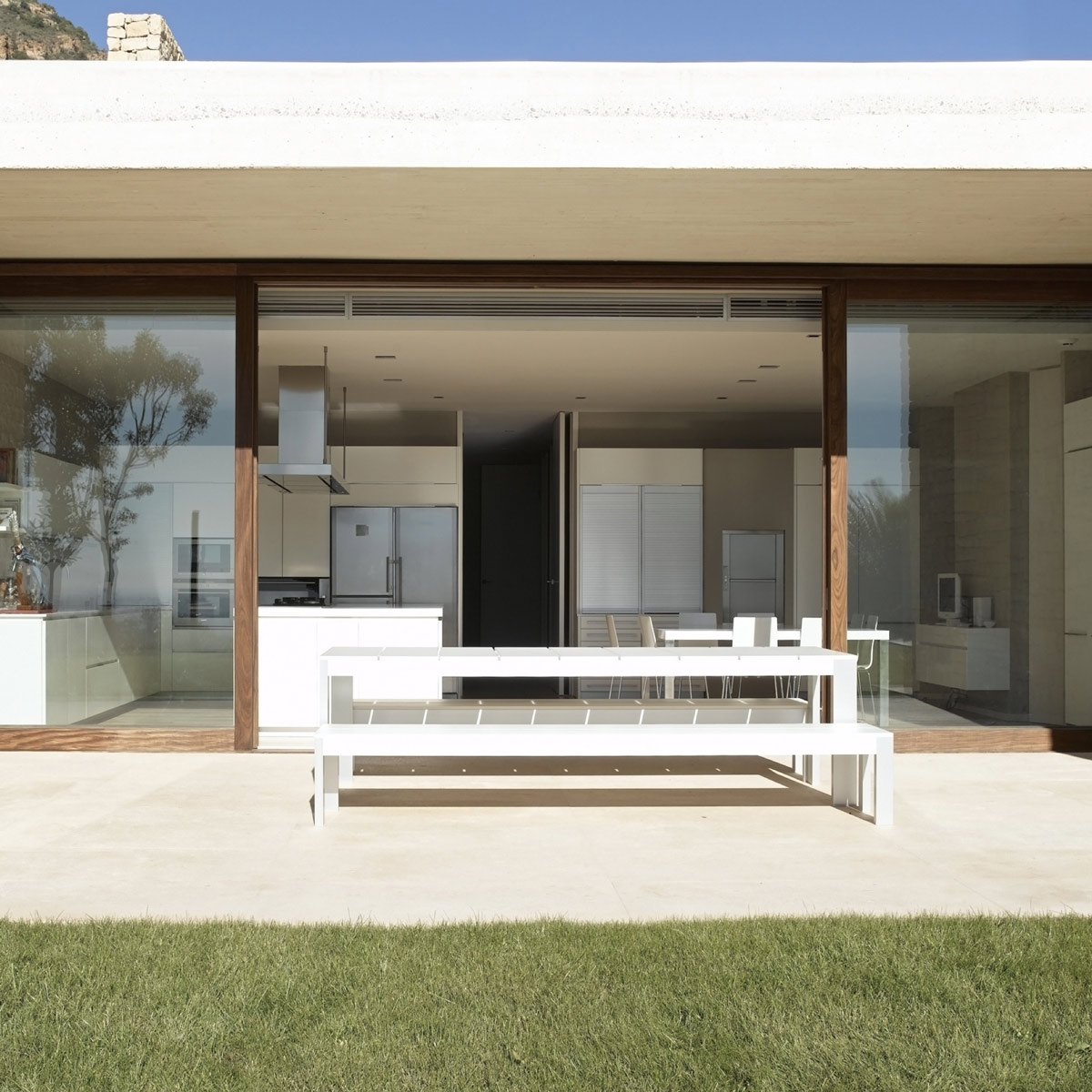 Patio Doors, White Bench, Contemporary Home in Monasterios, Spain