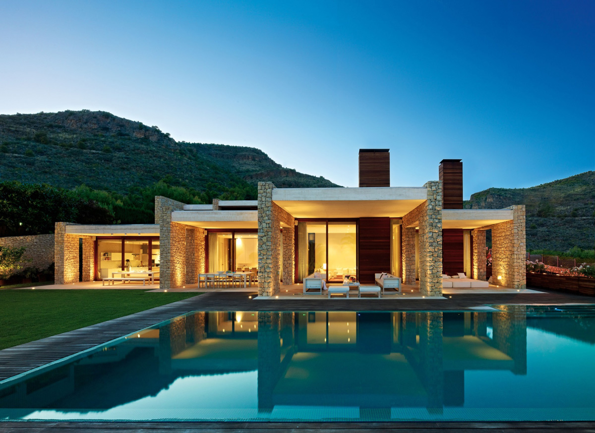 Pool, Lighting, Contemporary Home in Monasterios, Spain