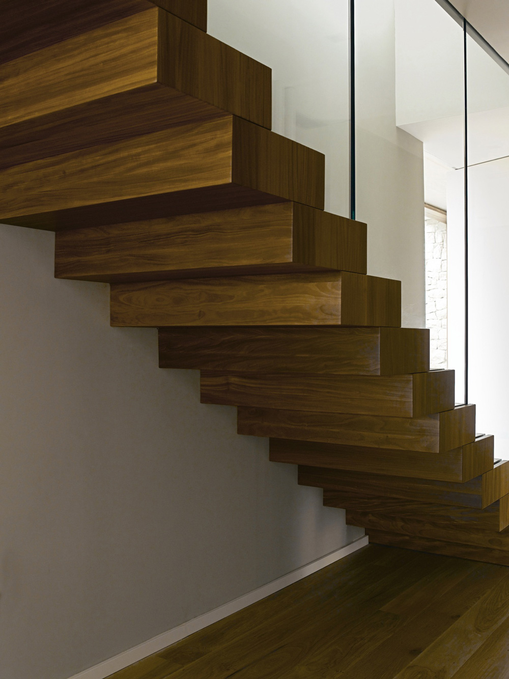 Wood & Glass Stairs, Contemporary Home in Monasterios, Spain