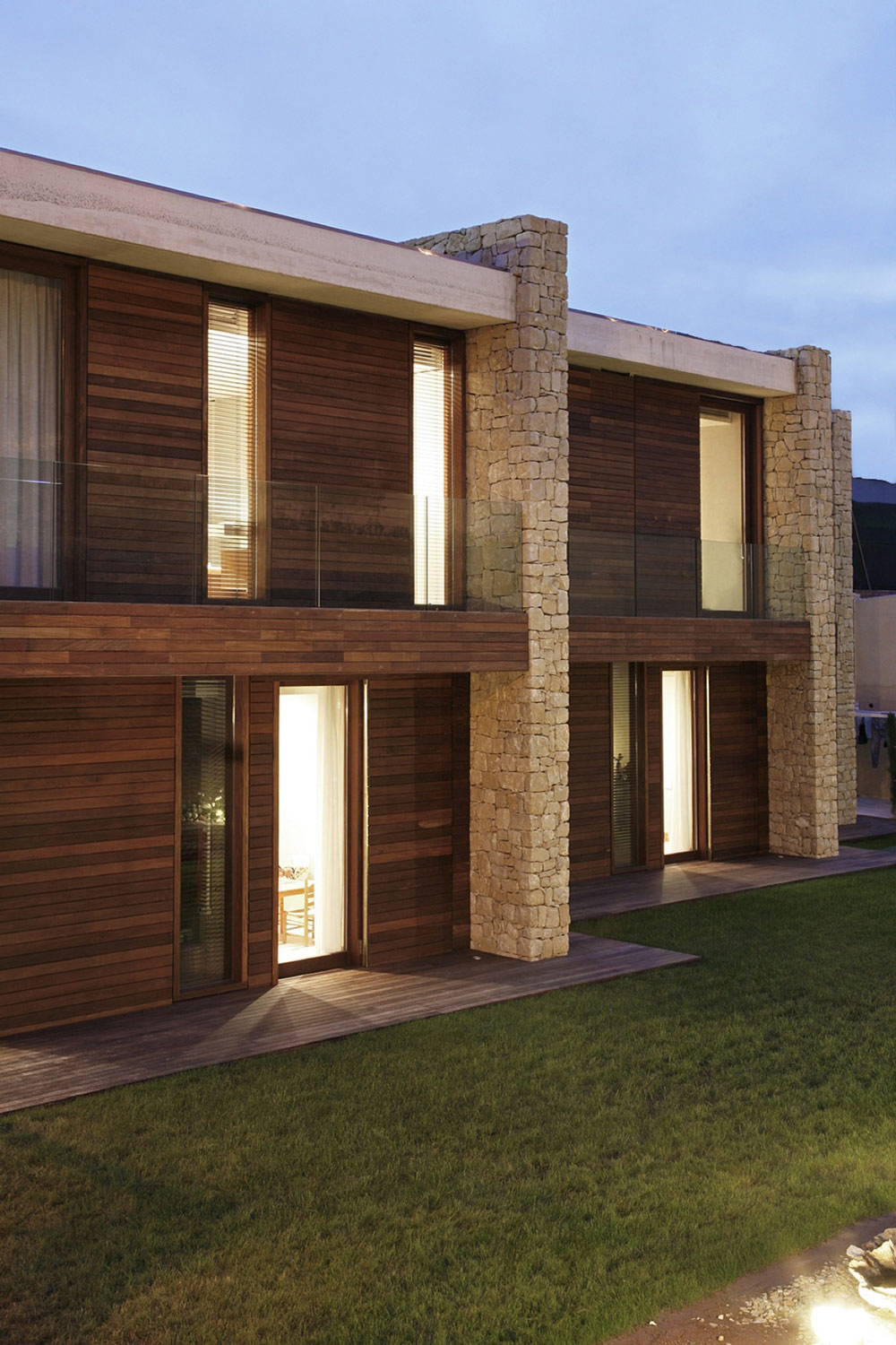 Wood & Stone Facade, Contemporary Home in Monasterios, Spain