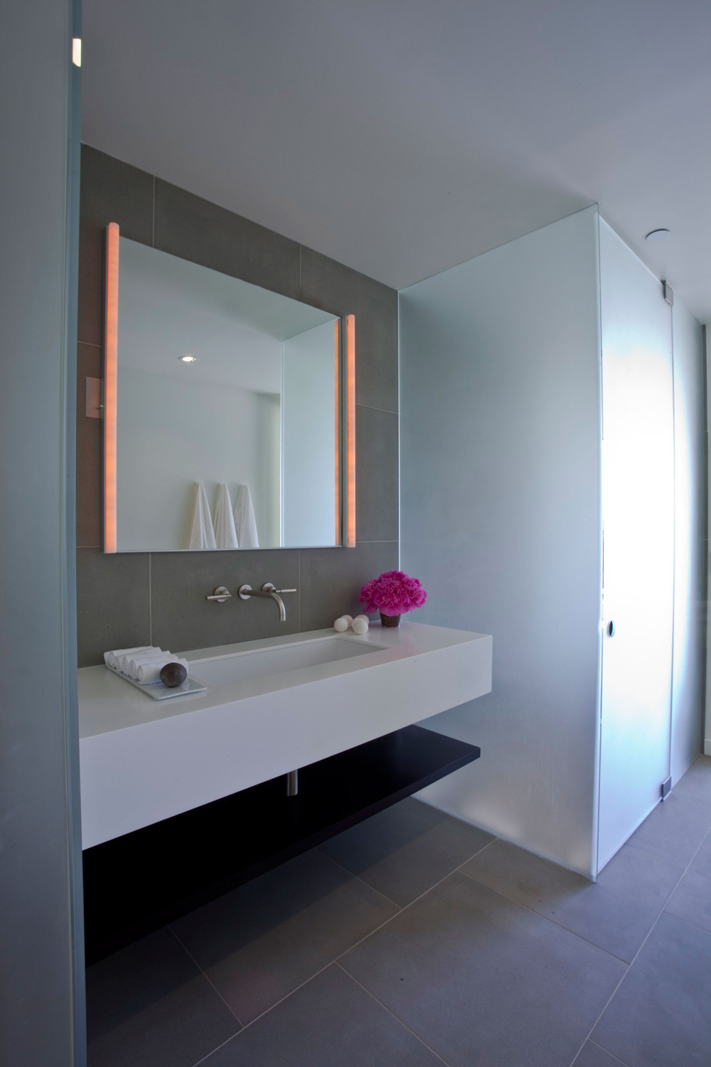 Bathroom Mirror, Lighting, Elegant Modern Interior in Southern California