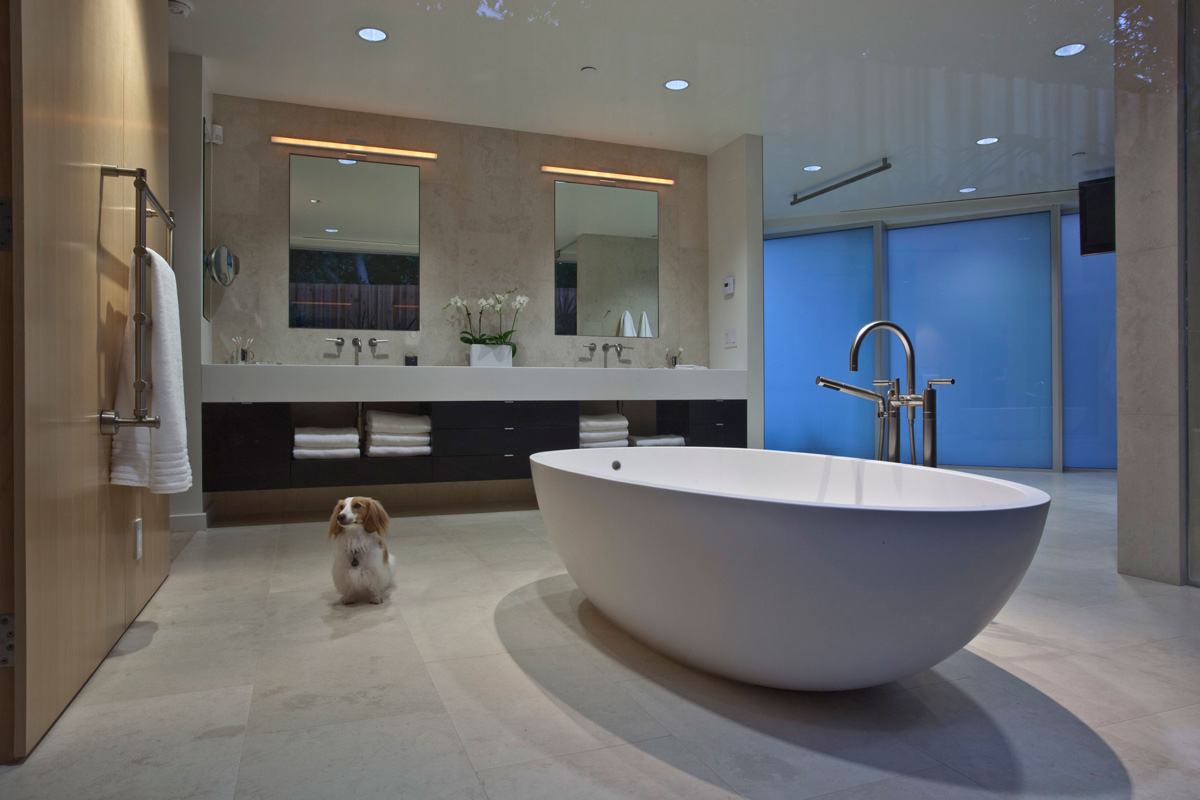 Marble Floor, Contemporary Bathroom, Elegant Modern Interior in Southern California