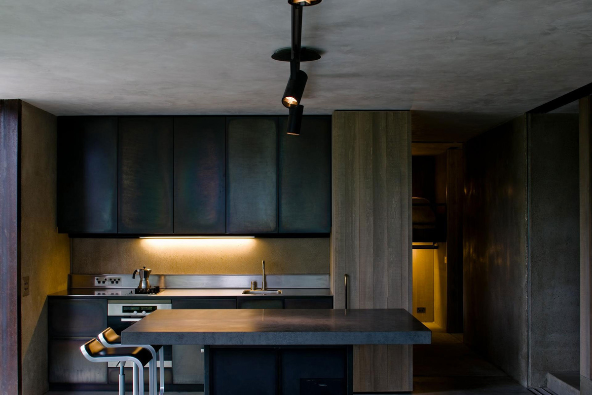 Dark Kitchen, Island, Mountain Retreat in Closeburn Station, New Zealand