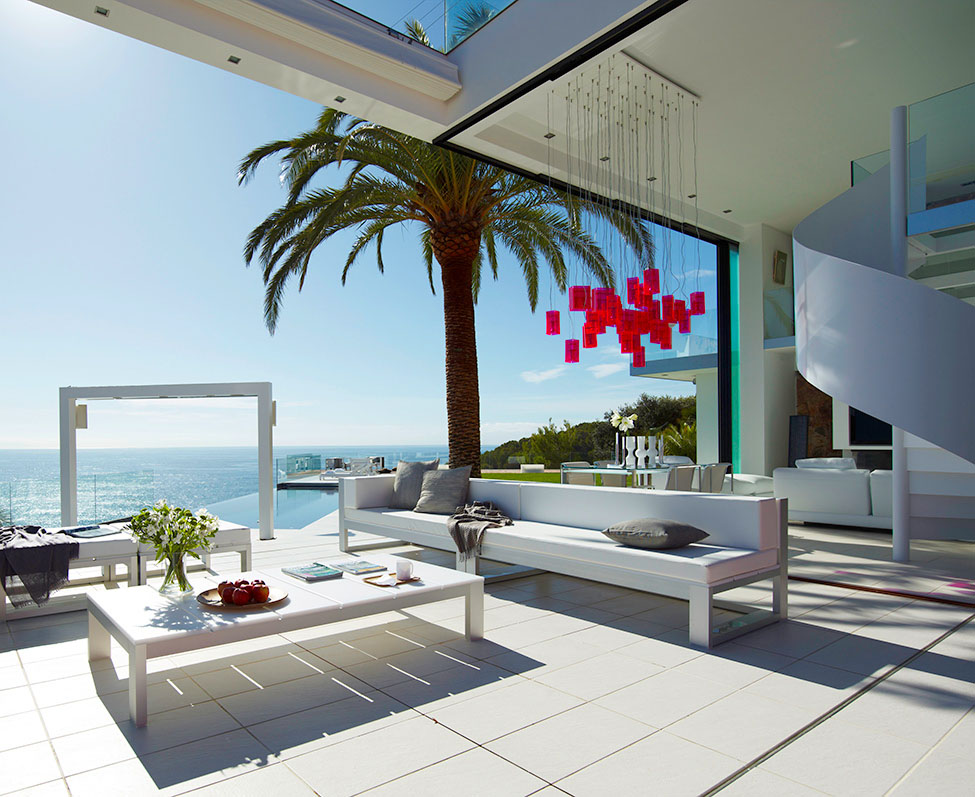White Interior, Coffee Table, Sofa, Spectacular Oceanfront Home in Tossa De Mar, Spain