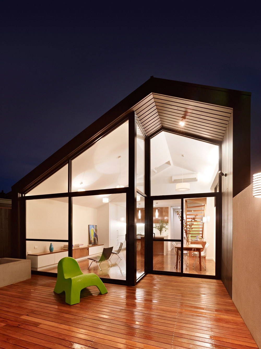 Wood Decking, Glass Walls, Modern Renovation in Fitzroy North, Australia