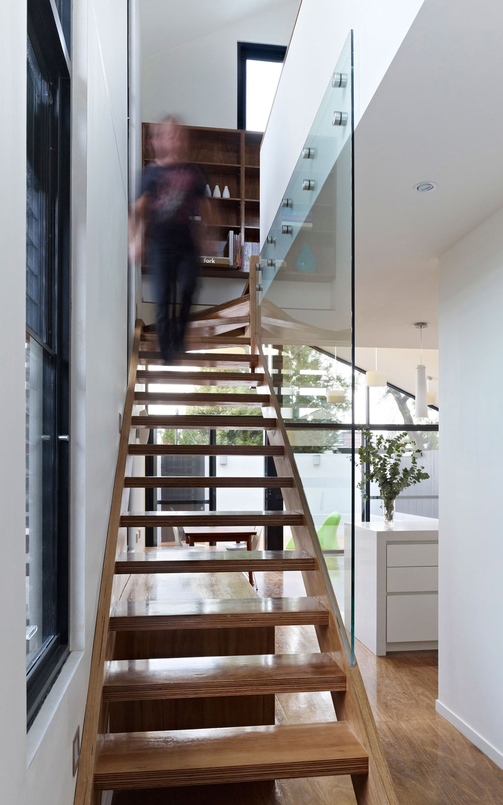 Wood & Glass Stairs, Modern Renovation in Fitzroy North, Australia