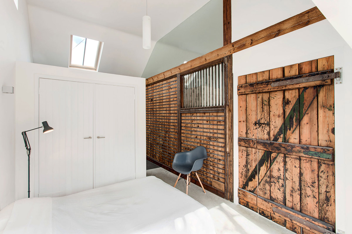 Bedroom, Rustic Door, Converted Stables in Winchester, England