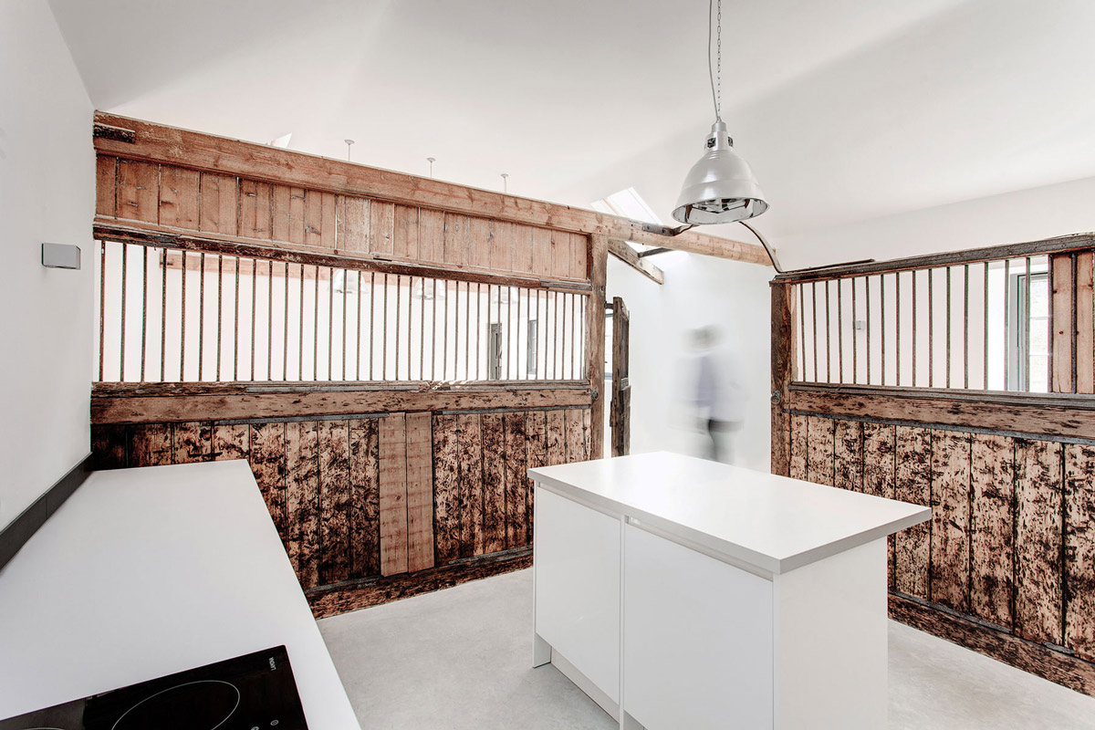 Kitchen Island, Rustic Walls, Converted Stables in Winchester, England
