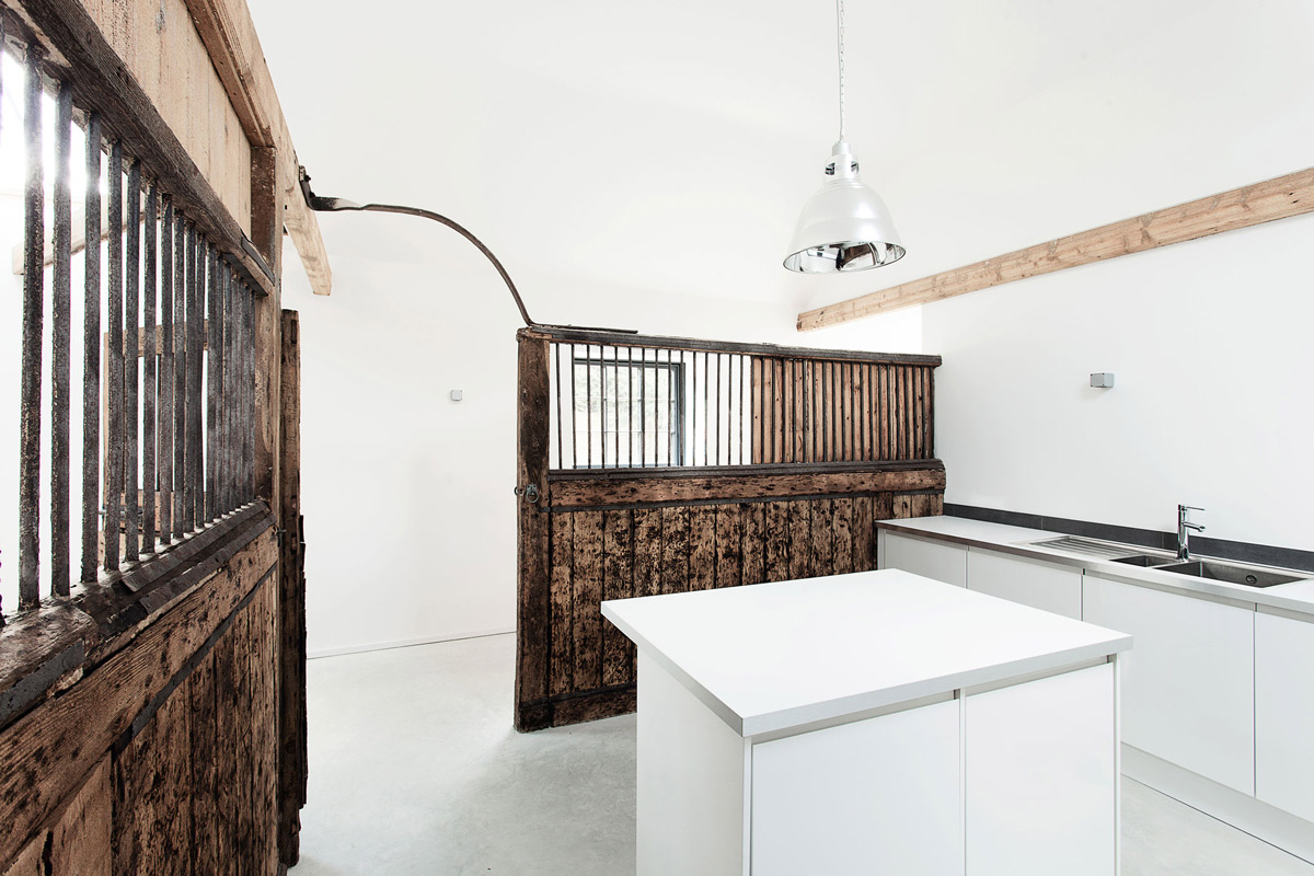 Bright White Kitchen, Converted Stables in Winchester, England