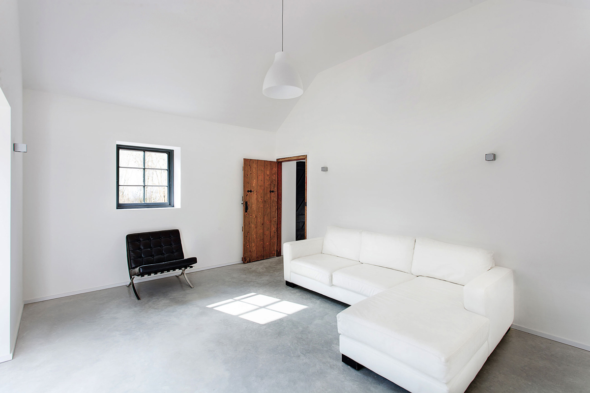 White Leather Sofa, Living Room, Converted Stables in Winchester, England