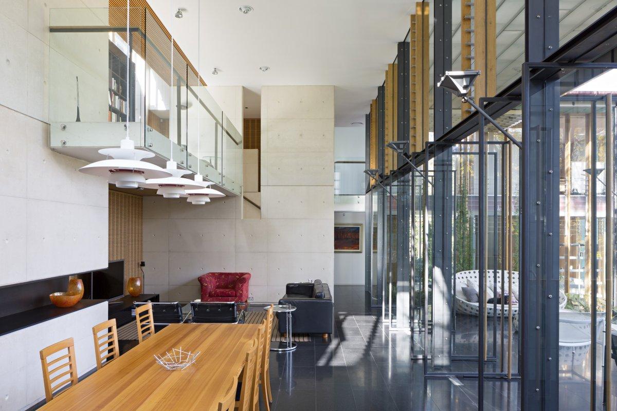 Dining Table, Living Space, High Ceilings, Taringa House in Brisbane, Australia